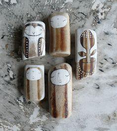 Beach Pottery Collection of Five  Three Jizo by LillaJizo on Etsy, $88.00