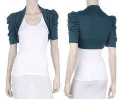 Knit Shirred Short Sleeve Party Shrug Stretch Open Cropped Bolero Shrug Wrap #HotFromHollywood #Shrug