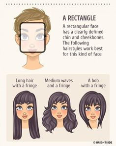 Hairstyles For Oblong Face Shape Rectangle Face Shape, Oblong Face Shape, Oval Face Shapes, Diamond Face Shape, Eyebrow Shapes, Eye Shapes, Hairstyles For Rectangular Faces, Oblong Face Hairstyles, Hairstyles For Face Shapes
