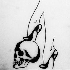 Scull high heels illustration Would be better with combat boots Beautiful Tattoos, Cool Tattoos, Tatoos, Tatuagem Pin Up, Tattoo Drawings, Art Drawings, Flash Art, Future Tattoos, Skin Art