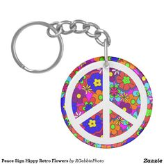 Peace Sign Hippy Retro Flowers Keychain -  $14.25 - Peace Sign Hippy Retro Flowers Keychain - by #RGebbiePhoto @ #zazzle - #Flowers #Hippy #Peace - Colorful retro funky style flowers, hippy style in bright colors! Large petal flowers with a large peace sign. 70s Hippy design, a funky throwback item!