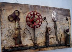 How neat!!  Vintage Garden  Assemblage art on antique wood by bearpawrustics, $120.00 - @Maxine Lim Jelinek I bet you have everything to make this!
