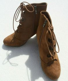 Womens Ladies Mid Heel Faux Suede Brown Lace Up Ankle Boots Size UK 5 Side Zip  #Unbranded #Ankleboot Lace Up Ankle Boots, Flats, Zip, Best Deals, Brown, Heels, Stuff To Buy, Ebay, Women