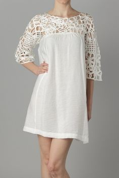 Woven Sleeve Tunic dress