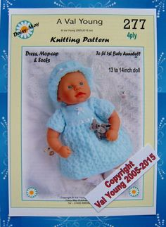 1 DOLLS KNITTING PATTERN to fit 1st Baby Annabell 13 /14 inch Doll 277 Daisy-May FOR SALE • £2.20 • See Photos! Money Back Guarantee. You are buying a new doll's knitting pattern to fit a 1st Baby Annabell doll or 13 to 14 inch Doll All Knitted in 4ply Yarn.Pattern number 277 This pattern 282554616314