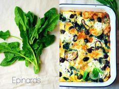 Frittata épinards, pommes de terre, oignon rouge, cottage cheese et olives