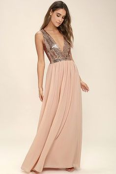 The Elegant Encounter Rose Gold Sequin Maxi Dress was made for fairy tale endings!
