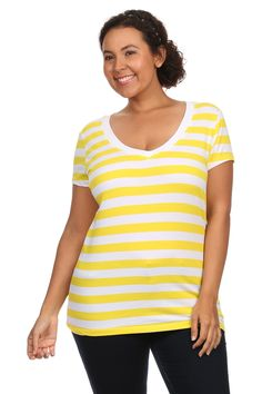 Womens Plus Size Comfortable Cotton Jersey V Neck Striped Short Sleeve Tee Shirt