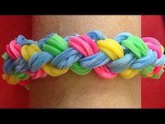 Pulsera de gomitas o ligas doble trenza. Rainbow loom bracelet - YouTube