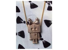 3D Printed tiny Girl Robot pendant by tinypurpletreehouse