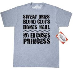 Inktastic Sweat Dries. Blood Clots. Bones Heal. No Excuses T-Shirt Work Out Fitness Crossfit Boxing Gym Body Builder Mens Adult Clothing Apparel Tees T-shirts, Size: XXL, Grey
