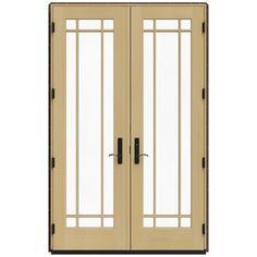 JELD-WEN 59.25 in. x 95.5 in. W-4500 Dark Chocolate Left Hand Inswing French Wood Patio Door