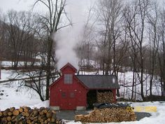 Vermont sugar house I love seeing the smoke billows from in the valleys. It's that time of year :)