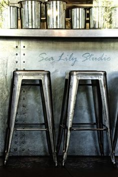 Bar Stools 8x12 : photography industrial photo steel blue gray stark metal home decor restaurant  fine art print