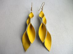 Petal Collection- Bright Yellow Leather Earrings on Etsy, $15.00