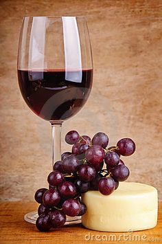 Red Wine, Grapes and Cheese