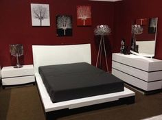 red and gray bedroom went with a black and red colour scheme as