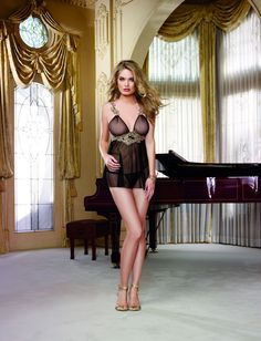 Beautiful Ultra Fine Mesh Babydoll w/Metallic Embroidered Applique Straps!   #MissBHaving #Babydoll # Chemise