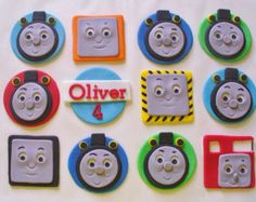 Your place to buy and sell all things handmade Thomas The Train Birthday Party, Trains Birthday Party, Train Party, 3rd Birthday, Birthday Ideas, Fondant Cookies, Fondant Cupcake Toppers, Thomas Cupcakes, Train Cupcakes
