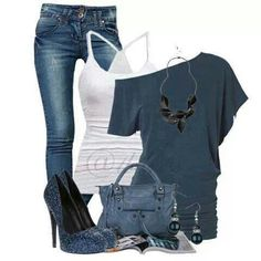 Casual outfit - studs instead of dangle earrings, flats instead of heels