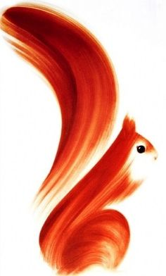 hand painted squirrel - would look beautiful on a porcelain vase