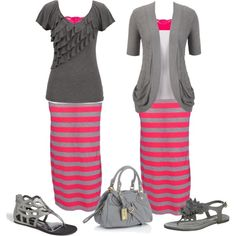 Love the pink and gray together and how you can make more than one outfit with the same shirt or skirt!