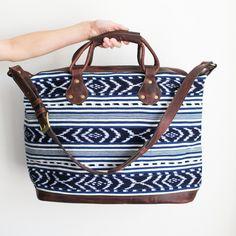 Image of Maya Weekender Bag - Signature Indigo Ikat