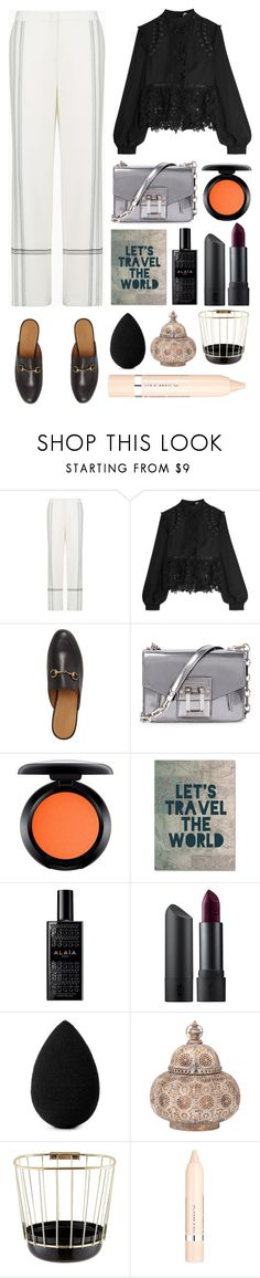 """5.209"" by katrina-yeow ❤ liked on Polyvore featuring BCBGMAXAZRIA, self-portrait, Gucci, Proenza Schouler, MAC Cosmetics, Trademark Fine Art, Alaïa, Bite, beautyblender and Incipit"