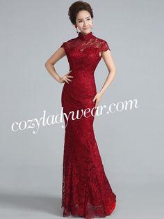 Wine Red Fishtail Qipao / Cheongsam Wedding Dress