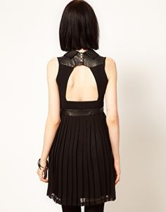 Enlarge Sister Jane Chiffon Pleated Dress with Faux Leather and Stud Collar