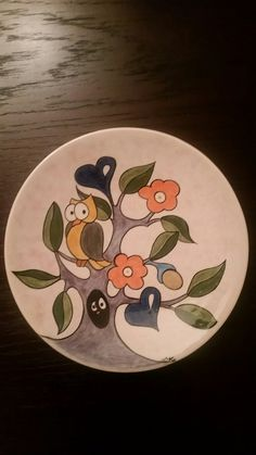 Çini teknigi ile baykuslu tabak - plate ile ilgili görsel sonucu