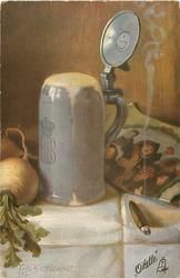 full stein, turnip left, smoking cigar right, picture behind