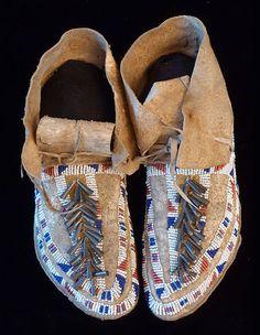 Cheyenne Beaded Hide Moccasins C 1885 | eBay