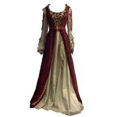 Costumia Red Gold Renaissance Costume Gown ❤ liked on Polyvore featuring costumes, dresses, medieval, gowns, renaissance halloween costume and renaissance costumes