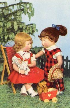 AK Postkarte Puppenkarte Garten Liegestuhl Puppenspiel Teddy DDR Käthe Kruse in Sammeln & Seltenes, Ansichtskarten, Motive | eBay