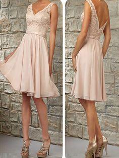 Short Bridesmaid Dress,Blush Pink Bridesmaid Dress, V-neck bridesmaid dress,Lace Bridesmaid Dress,Top Off Shoulder Bridesmaid Dress, Knee-Length Bridesmaid DressPD008363