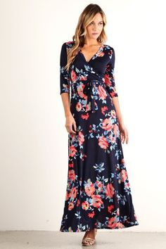 Creme De La Creme Floral Wrap Maxi Dress [More Colors]