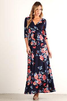 """""""Creme De La Creme"""" Floral Wrap Maxi Dress [NEW Colors] - ShopLuckyDuck  - 10"""