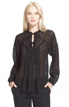 Rebecca Taylor Coupe Silk Blend Peasant Top available at #Nordstrom