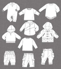 d36d4a027ca9 Set of isolated flat sketches for girls. Clothing SketchesFashion Sketches Children ...