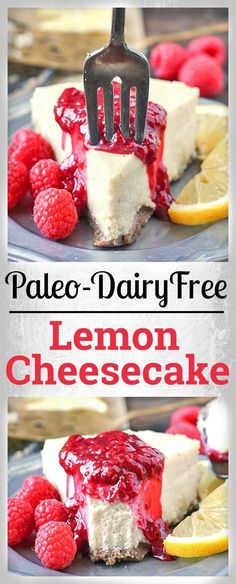 Paleo Lemon Cheesecake is a healthier cheesecake made with no dairy and is naturally sweetened. A pecan and date crust topped with a thick, rich layer of lemon cheesecake that has a cashew base. Gluten free, dairy free, and naturally sweetened. Paleo Dessert, Dessert Sans Gluten, Paleo Sweets, Gluten Free Desserts, No Dairy Recipes, Paleo Recipes, Real Food Recipes, Yummy Food, Paleo Meals
