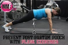 Plank Exercises To Prevent Post Partum Pooch. And a bunch of other SAFE ABS #Pregnancy #Exercises.