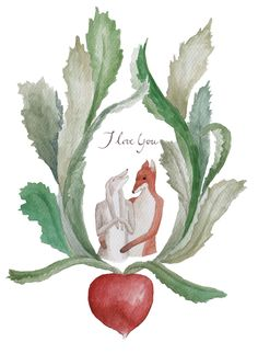 Bunny and Fox in love Gouache, Fox, Bunny, Painting, Animals, Illustrations, Animales, Animaux, Hare