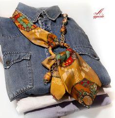 Bamboo necklace vintage necktie creative recycle by AppuntoArianna, Scarf Necklace, Scarf Jewelry, Textile Jewelry, Fabric Jewelry, Textile Art, Old Ties, Tie Crafts, Tie Quilt, Diy Schmuck