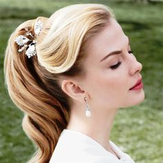 Bride's sleek retro pulled back pony tail side bangs bridal hair ideas Toni Kami Wedding Hairstyles