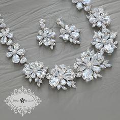 Amazing CZ floral necklace & earrings set