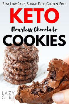 If you are looking for TRUE flourless keto chocolate cookies then youve come to the right place! These are my favorite and this is definitely worlds BEST low carb sugar-free gluten-free Keto Chocolate Cookies recipe that is super easy to make! Keto Cookies, Cookies Receta, Cookies Et Biscuits, Sugar Free Cookies, Gluten Free Sugar Free Cookie Recipe, Sugar Free Frosting, Sugar Free Snacks, Cookies Kids, Keto Cookie Dough