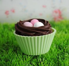 """I found these Easter """"banana"""" cupcakes on a blog I like.  It referenced Tori Jayne's blog for the recipe.  Couldn't find it there."""