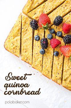 Sweet quinoa cornbread - polabaker.com  #healthy #nosugar #sugarfree #dessert #baking #maplesyrup #quinoa #cornbread #cornmeal #yogurt #polabaker