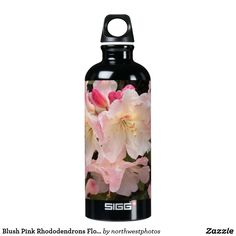 Blush Pink Rhododendrons Floral Aluminum Water Bottle